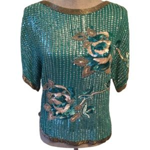 Vintage Sequin Silk Top